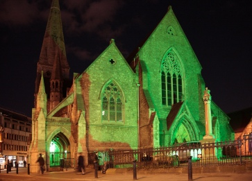 St. Andrew's Church on Andrew Street, Dublin, Republic of Ireland, photographed in green illumination on St. Patrick's Day 2010 (17 March)